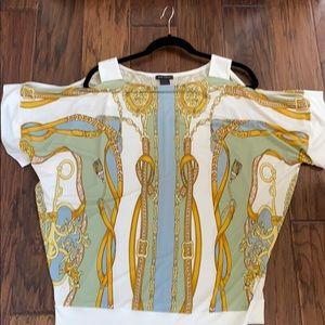 Eva varro cold shoulder blouse blue/gold Small